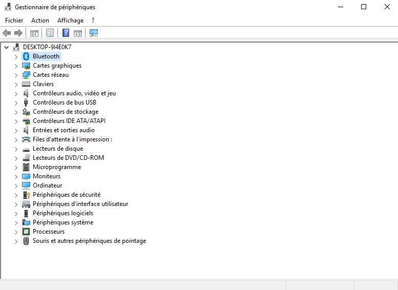 Windows 10 a installé le Bluetooth gestionnaire de périphériques