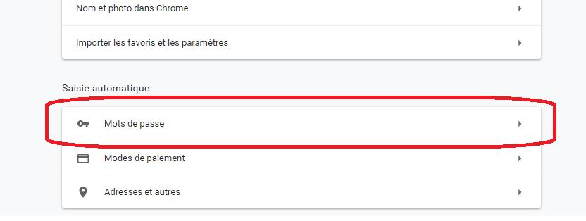 mot de passe navigateur Chrome