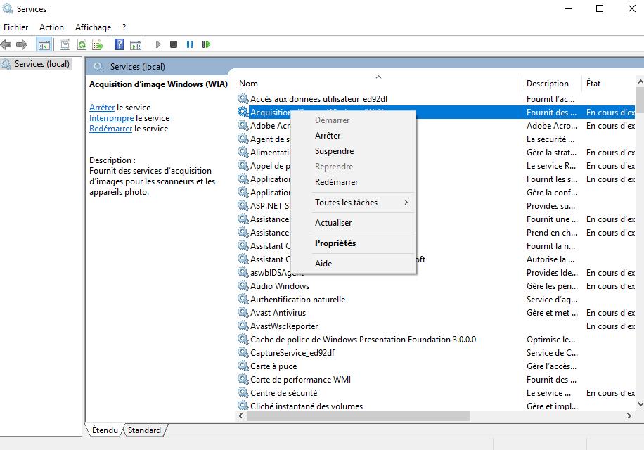 ouvrir le gestionnaire de services Windows 10