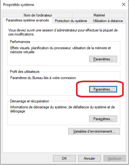 supprimer un profil utilisateur sous Windows 10