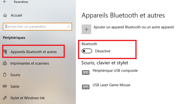 Windows 10 a installé le Bluetooth Paramètres Windows