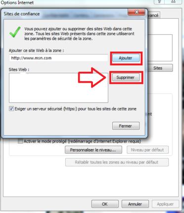 ajouter un site de confiance dans Windows 10