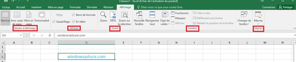 Affichage Excel