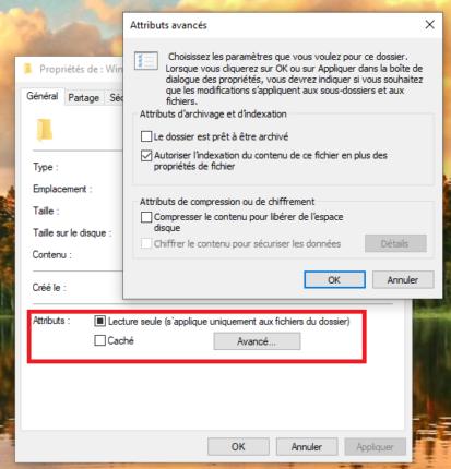 dossier caché Windows 10