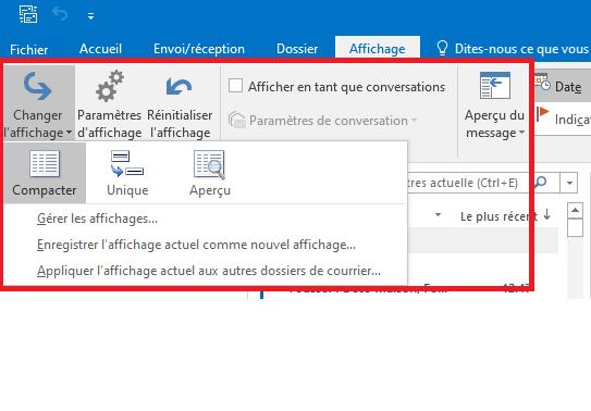 boîte de réception dans Outlook