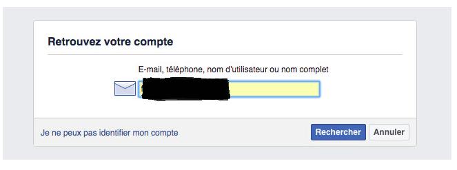 Réinitialisation du mot de passe de connexion Facebook