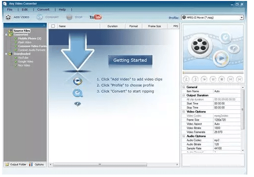 Any Video Converter télécharger playlist youtube