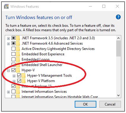 Hyper-V fonctionnalités de Windows