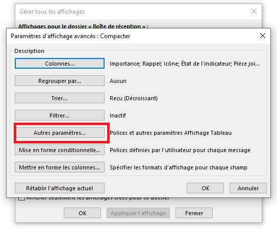 Paramètres d'affichage Outlook avancés