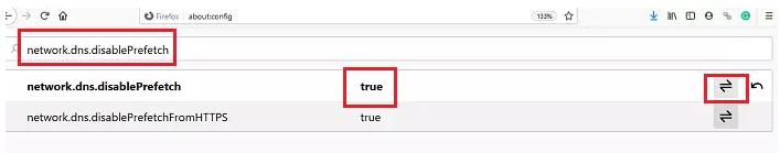 network.dns.disablePrefetch Firefox