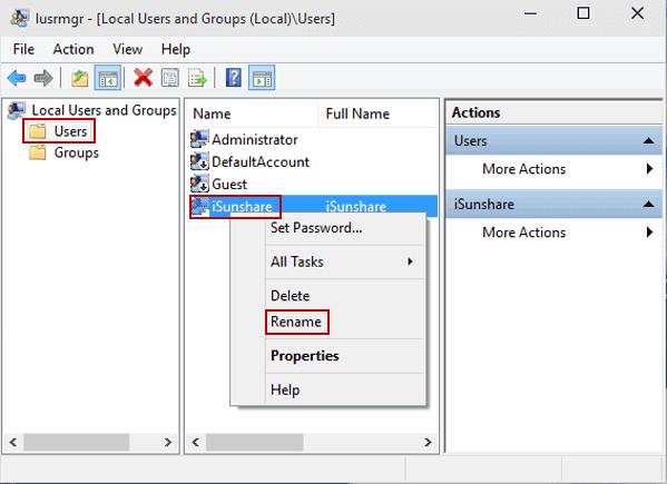 modifier nom utilisateur windows 10