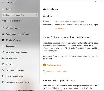 clé de produit windows 10