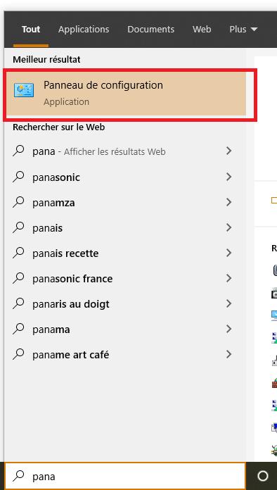 panneau de configuration à partir du menu Rechercher et démarrer
