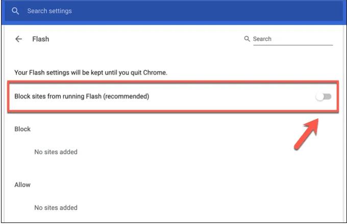 Empêcher les sites d'exécuter Flash (recommandé)