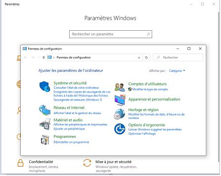 panneau de configuration dans Windows 10