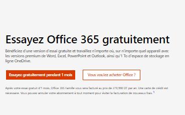 Essai gratuit de Microsoft Word