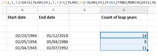 années bissextiles Excel