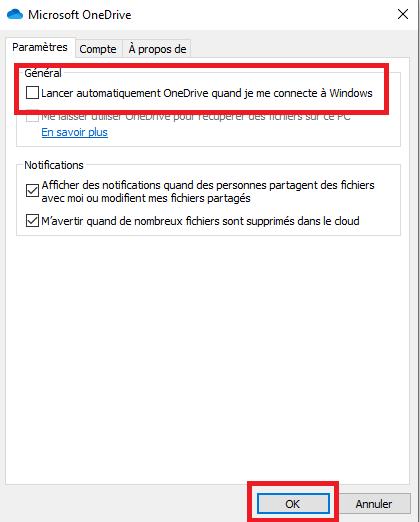 Désactiver OneDrive
