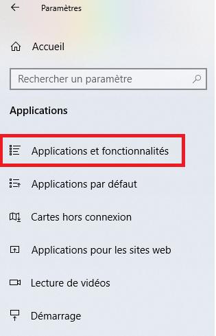 Applications et fonctionnalités Windows 10