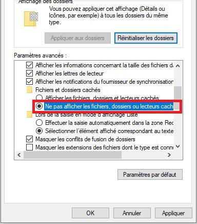 Cacher des fichiers dans Windows 10