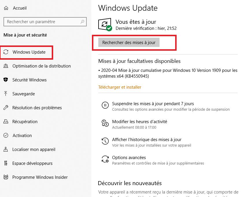 Mise à jour Windows