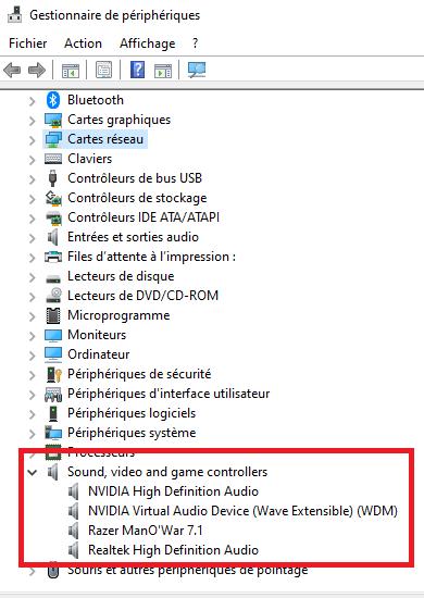 Pas de son Windows 10