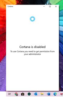 Cortana est désactivé sur Windows 10