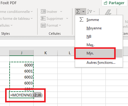 MIN Max MOYENNE Excel